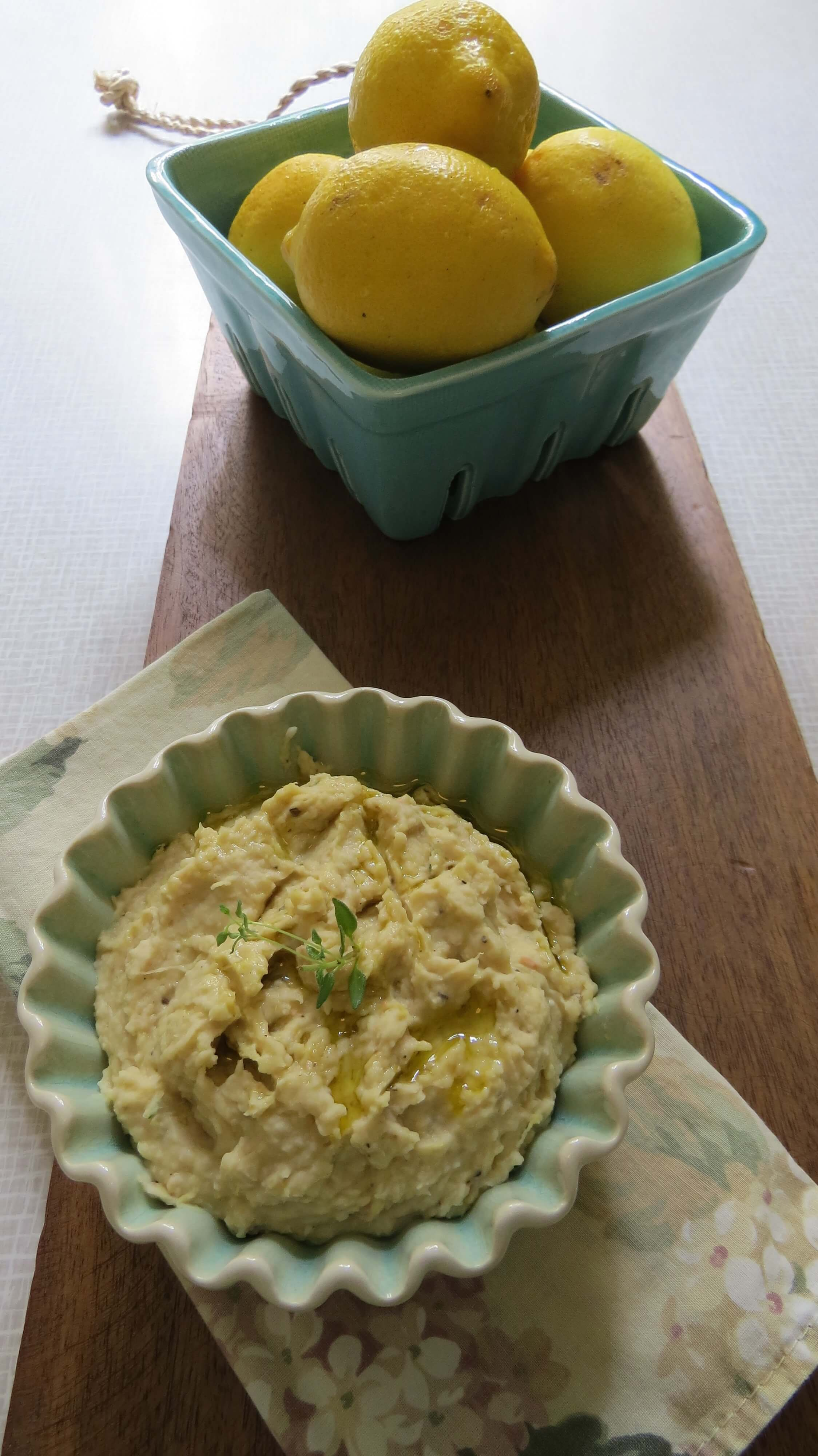 lemon thyme white bean dip long shot