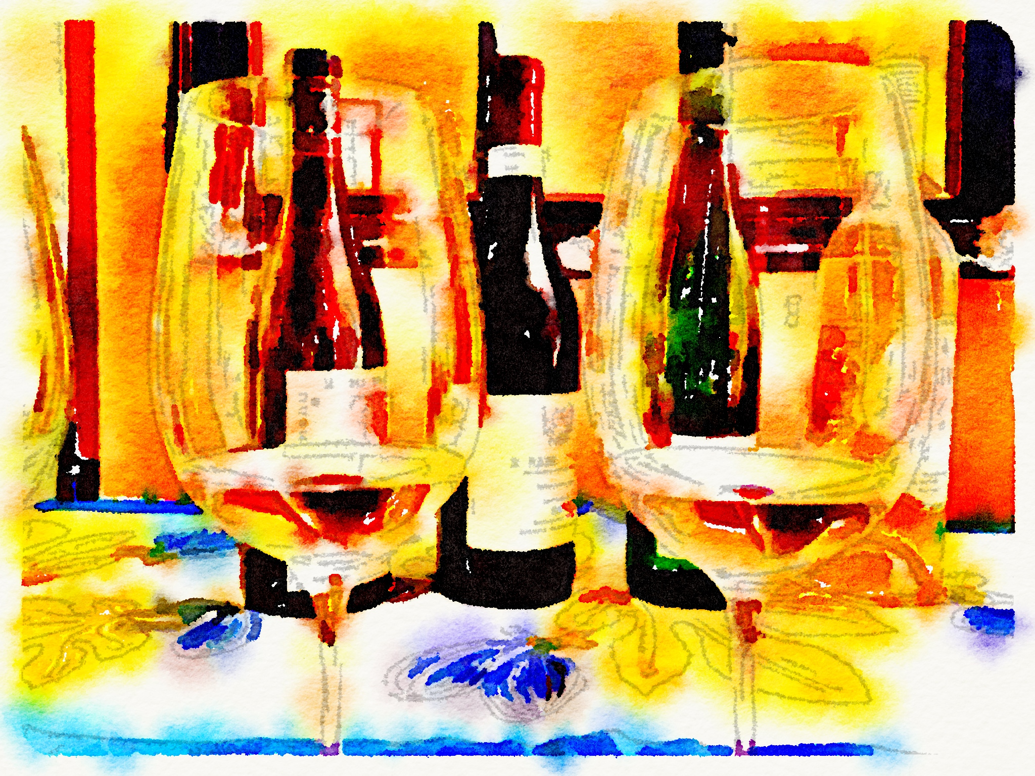 two wine glasses waterlogue