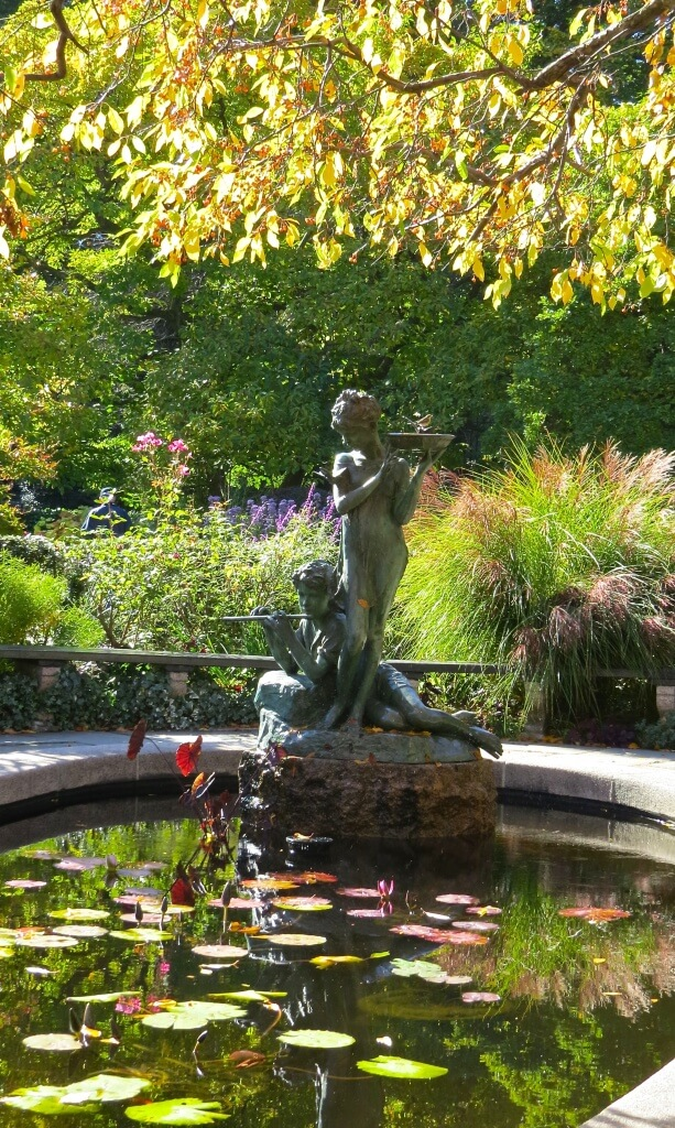 central park autumn new york conservatory garden statue long